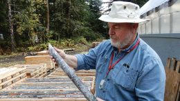 Dolly Varden Silver's vice-president of exploration Ben Whiting examines core at the firm's eponymous silver-lead-zinc project in British Columbia. Photo by Rob van Egmond.
