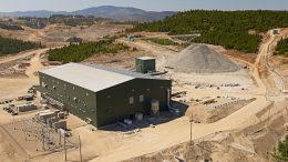 Aerial shot of the concentrator building and coarse ore stock pile at the Copper Mountain site. Credit: Copper Mountain Mining.