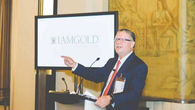 Iamgold president and CEO Stephen Letwin delivers the keynote address to attendees in October at The Northern Miner's inaugural Progressive Mine Forum at the Carlu in downtown Toronto. Credit: George Matthew Photography.