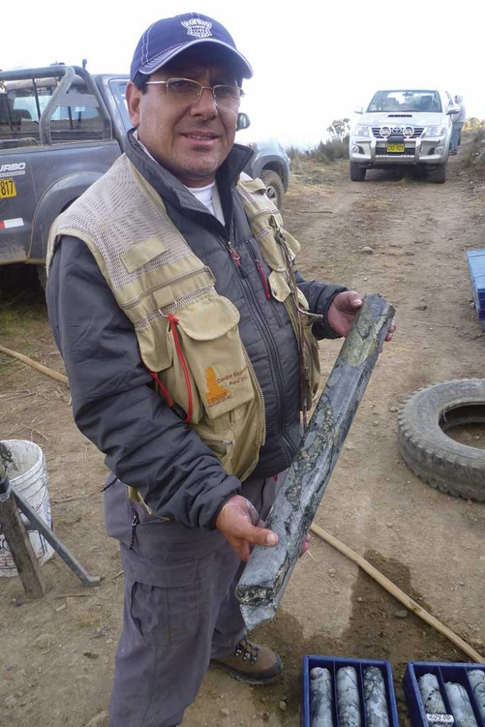Ever Marquez, Condor Resources' vice-president of exploration, shows off a core sample from breccia pipe 1 at Soledad in 2014. The nearly vertical hole intercepted 174 metres grading 1.2% copper, 0.74 gram gold and 114 grams silver per tonne. Credit: Condor Resources.