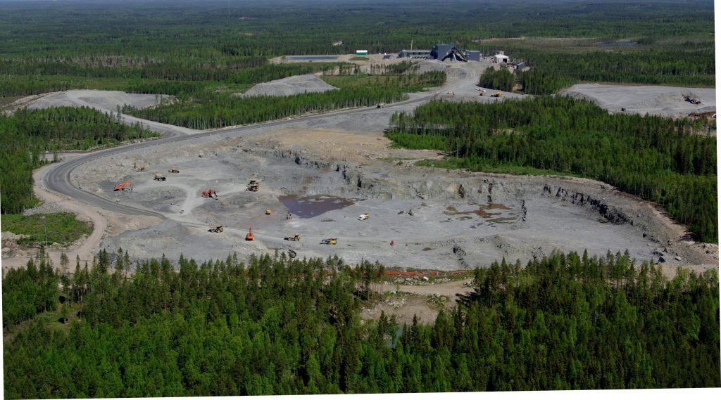 The open pits at Laiva gold mine in Finland. Credit: Firesteel.