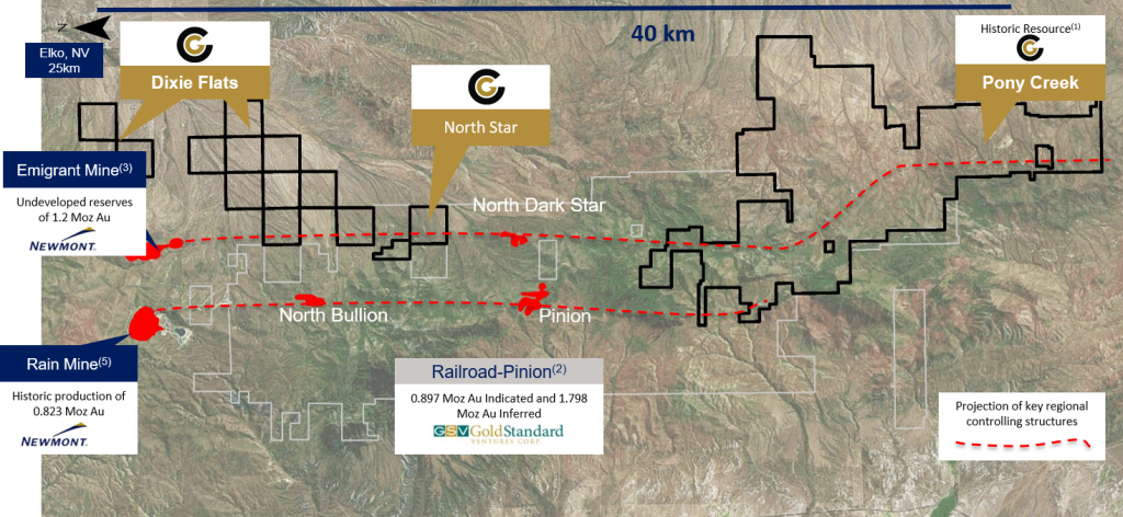Location map of Contact Gold's Pony Creek gold property relative to major projects and mines in the region. Credit: Contact Gold.