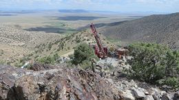 Reverse-circulation (RC) drilling at the Bolo property in Nevada in 2017. Credit: Columbus Gold.