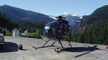 A helicopter at Ascot Resources' Premier gold-silver project, 20 km northeast of Stewart in northwestern British Columbia. Credit: Ascot Resources.