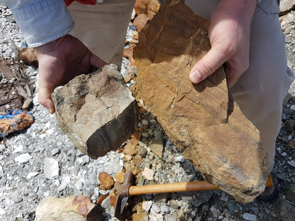 A closer look at copper-zinc mineralized material at Kutcho Copper Corp.'s Kutcho Copper property in British Columbia. Photo credit: Kutcho Copper Corp.