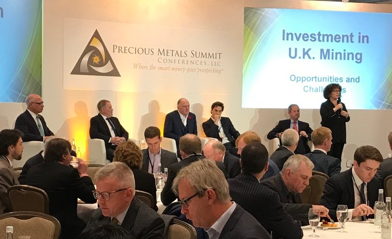 "Richard Williams (second from left), president and CEO of Strongbow Exploration, and Patrick F.N. Anderson (third from left), president and CEO of Dalradian Resources, on stage at a panel at Precious Metal Summit's ""2017 London Summit"" in london, U.K., on Nov. 9, 2017. Credit: Precious Metals Summit."