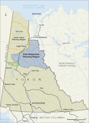 Regional map showing Peel watershed boundaries in northern Yukon. Credit: Yukon government.