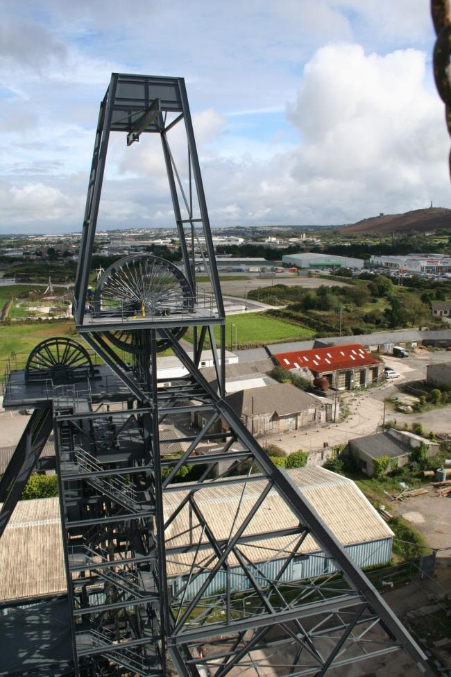 The headframe at Strongbow Exploration's South Crofty tin mine project in Cornwall, England. Credit: www.falmouthpacket.co.uk.