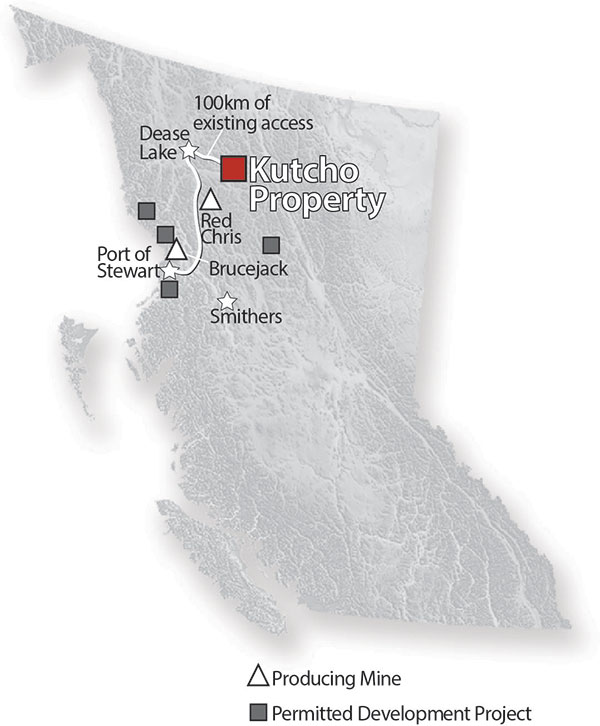 Location map of Kutcho Copper's Kutcho copper-zinc project in northern British Columbia. Map credit: Kutcho Copper.
