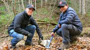 Japan Gold president and CEO, John Proust in the field in Japan with Senior Exploration Geologist Glenn Christian Alburo. Credit: Japan Gold.