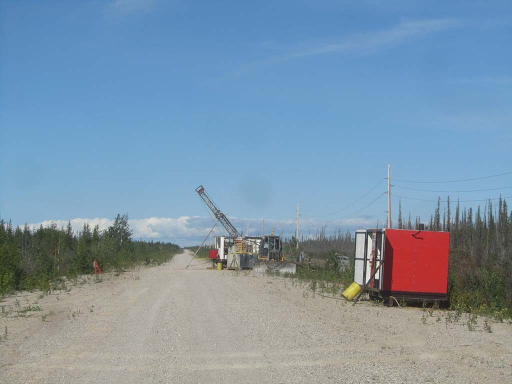 A drill rig at the Pine Point zinc project. Credit: Osisko Metals.