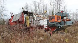 An old drill rig Orefinders Resources inherited by buying the past-producing Tyrenite gold mine in Ontario. Credit: Orefinders Resources.