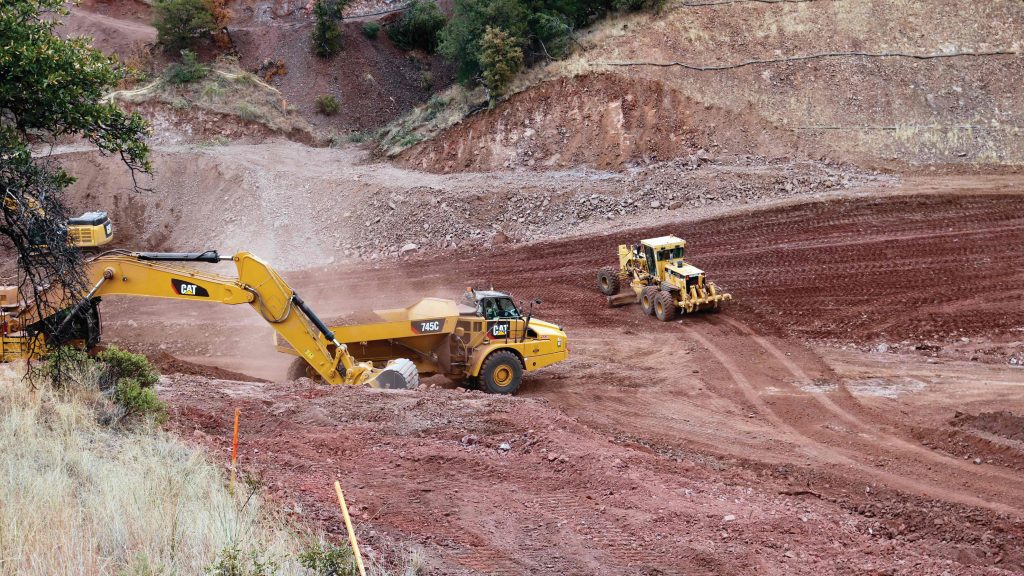 Earth moving operations ahead of construction of a water treatment plant at Arizona Mining's Hermosa project. Arizona Mining
