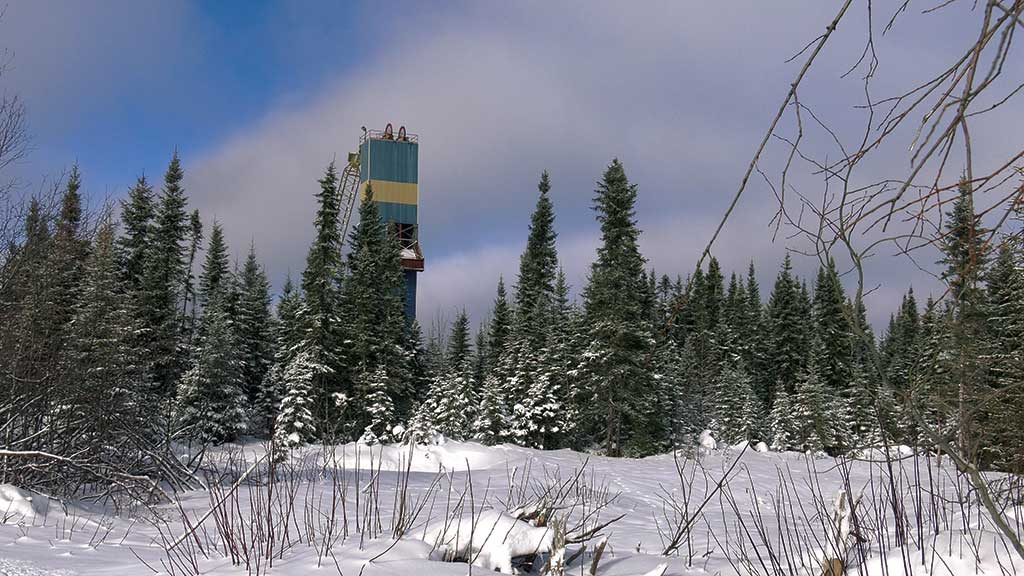 A historic headframe at Maple Gold Mines' Douay gold property in northern Quebec. Credit: Maple Gold Mines.