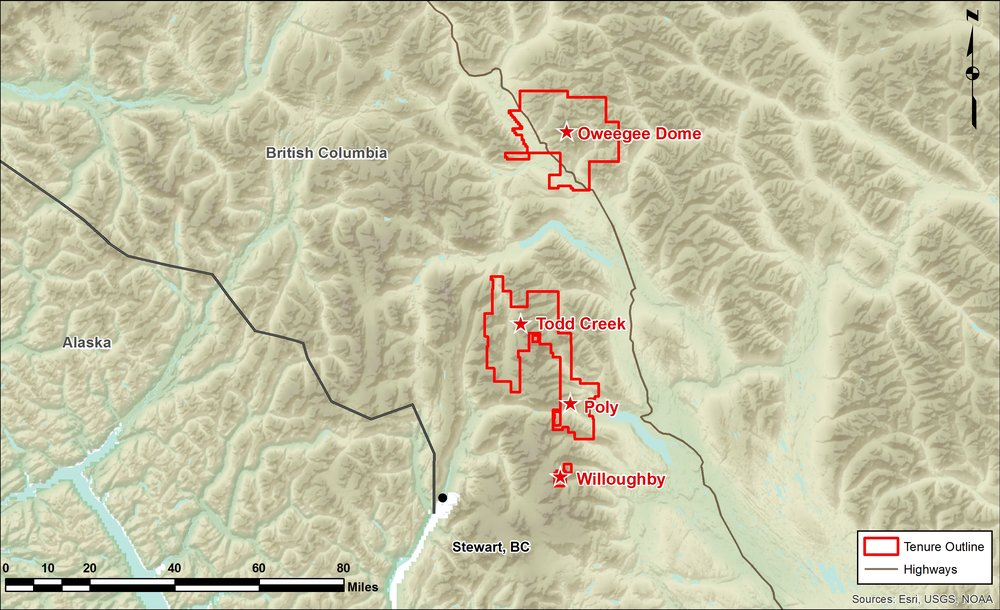 Location map of Millrock Resources' Oweegee Dome, Todd Creek and Willoughby claims northeast of Stewart in northwestern British Columbia. Credit: Millrock Resources.