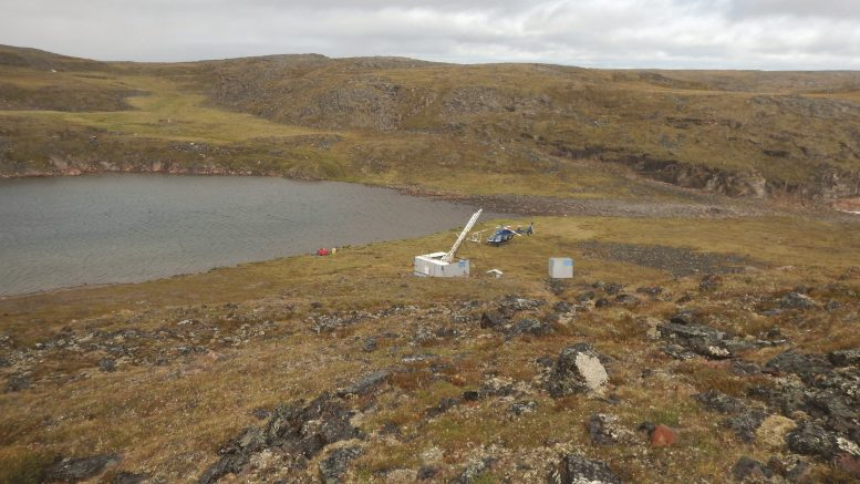 Summer 2017 delineation drilling program at the Q1-4 Kimberlite at the Naujaat Diamond Project on the Melville Peninsula, NU. Drilling will re-commence in April, one of at least four diamond projects to be drilled by North Arrow in 2018. Credit: North Arrow Minerals Inc.