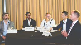 The exploration innovation panel at The Northern Miner's inaugural Progressive Mine Forum in Toronto last October, from left: Mohan Srivastava, vice-president of TriStar Gold; Pavel Rahman, data scientist and associate partner of IBM Canada's cognitive and advanced analytics solutions; Michael Dehn, consultant at Avanti Management and Consulting; Robin Lee Fell, director of strategic technology solutions at Goldcorp; and Richard Spencer, president of Aurania Resources. Photo credit: Matthew George Photography.