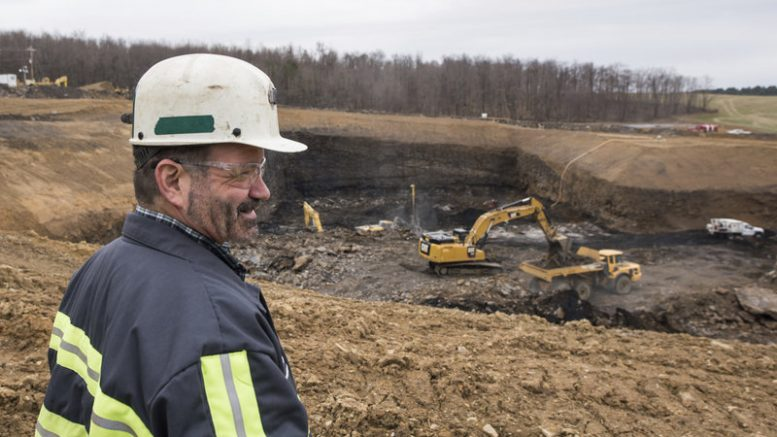 Rob Bottegal, head engineer of the Acosta Deep Mine for Corsa Coal, overlooks the mine in Jennerstown, Pennsylvania. Credit: Dan Speicher/Pittsburgh Tribune-Review via AP.