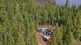 A drill rig at BonTerra Resources' Gladiator gold project in the Urban-Barry greenstone belt, 170 km northeast of Val-d'Or. Credit: BonTerra Resources.