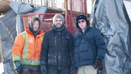 At a drill site in December 2017 on Great Thunder Gold's Chubb lithium property near Val-d'Or, Quebec, from left: Louis-David Morin, Forages Drilling helper; Pier-Olivier Breton, Forages Drilling driller; and the project's Qualified Person Donald Théberge. Credit: Great Thunder Gold.