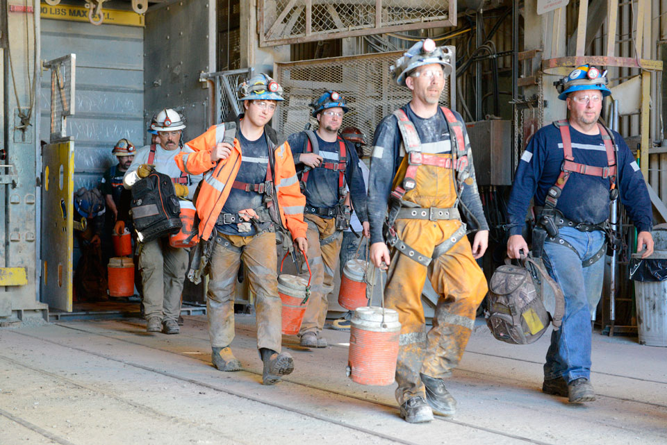 Miners at Hecla Mining's Lucky Friday underground silver operation in Idaho. Credit: Hecla Mining.