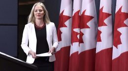 Canada's Minister of Environment and Climate Change Catherine McKenna at a press conference in Ottawa on Feb. 8, 2018, to unveil Bill C-69. Credit: CP.
