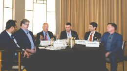 The mine development roundtable at the Northern Miner's Progressive Mine Forum in Toronto in October 2017, from left: Subo Chatterjee, vice-president of consulting and business transformation leader at PwC Canada; Gordon Stothart, executive vice-president and chief operating officer of Iamgold; Matt Manson, president and CEO of Stornoway Diamond; Walter Siggelkow, president and founder of Hard-Line Solutions; John Mullally, director of government relations & energy at Goldcorp; and Ewan Downie, president and CEO of Premier Gold Mines.