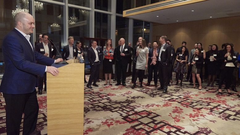 Stephen Stewart, a director of the Young Mining Professionals Toronto branch and CEO of Orefinders Resources, address the crowd at the YMP Awards gala in Toronto in March 2017. Credit: Young Mining Professionals.
