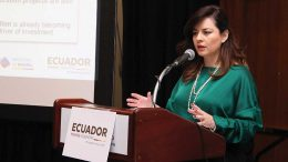 Rebeca Illescas, Ecuador's Minister of Mines, addresses attendees in early March during Ecuador Day at the PDAC 2018 convention in Toronto. Crdit: Ecuador Ministry of Mining.
