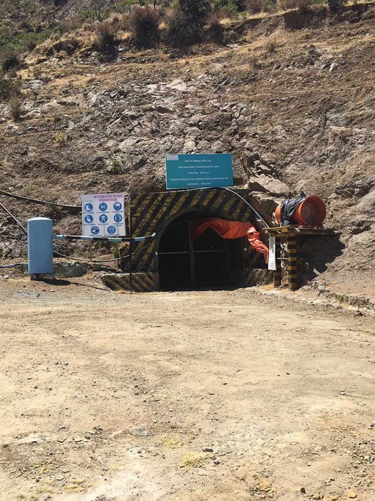 A portal at Lupaka Gold's Invicta gold-copper project in Peru, 120 km north of Lima. Credit: Lupaka Gold.
