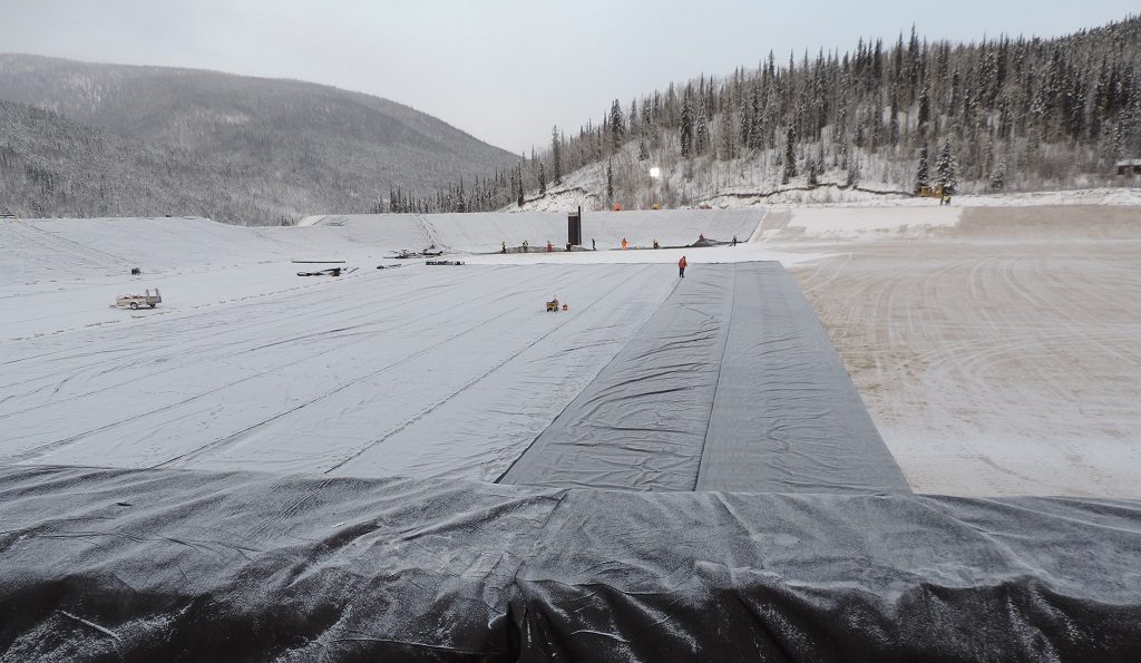 Building a heap-leach pad at Victoria Gold Corp.'s Eagle Gold mine in the Yukon, with photo taken in mid-November 2017. Photo Credit: Victoria Gold Corp.