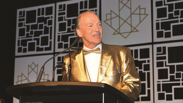 Franco-Nevada chairman Pierre Lassonde was the master of ceremonies for the 2018 Canadian Mining Hall of Fame induction ceremony in Toronto. Credit: Keith Houghton Photography.