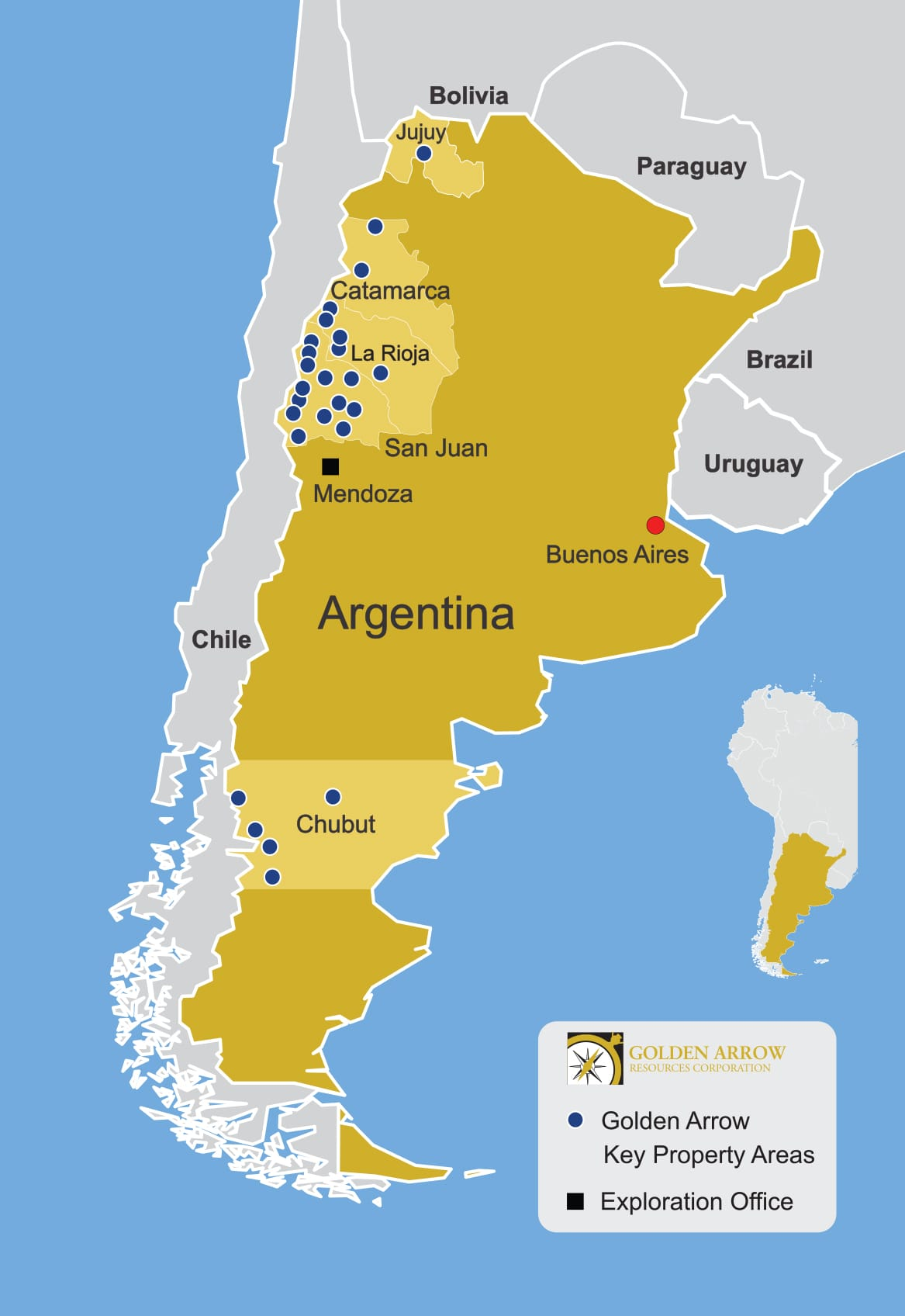 Location map of Golden Arrow Resources Corp.'s mineral properties in Argentina. Map Credit: Golden Arrow Resources Corp.