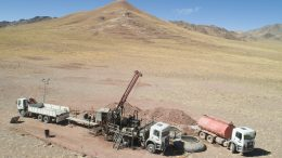 Drilling the Fantasma zone at AbraPlata Resource Corp.'s Diablillos silver-gold project in Argentina's Salta Province, with the Oculto zone in the background. Credit: AbraPlata Resource Corp.
