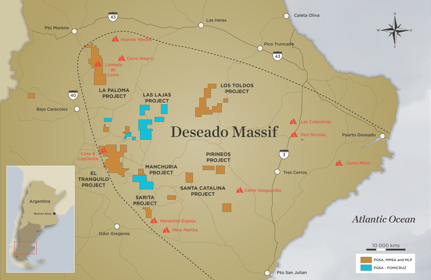 Map of the southern Argentina's Deseado Massif gold-silver district, showing Patagonia Gold's properties and other prominent projects and mines. Credit: Patagonia Gold.