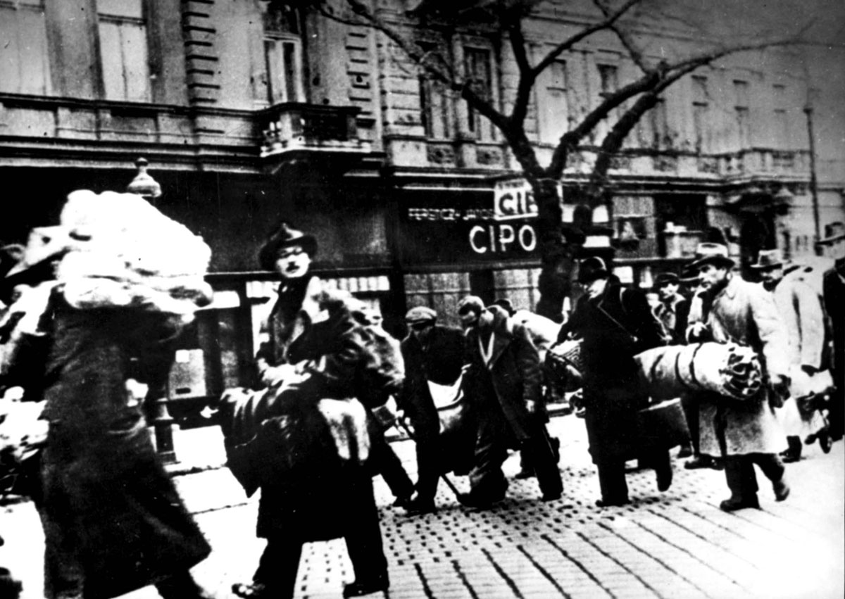 Jews saved from deportation at the last minute in Budapest, Hungary, in November 1944. Credit: Yad Vashem.