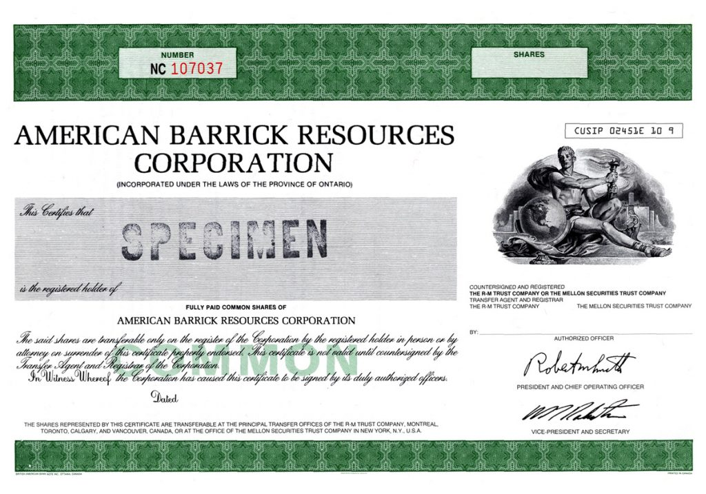 Specimen stock certificate from American Barrick Resources' listing on the Toronto Stock Exchange in 1983. Credit: Barrick Gold.