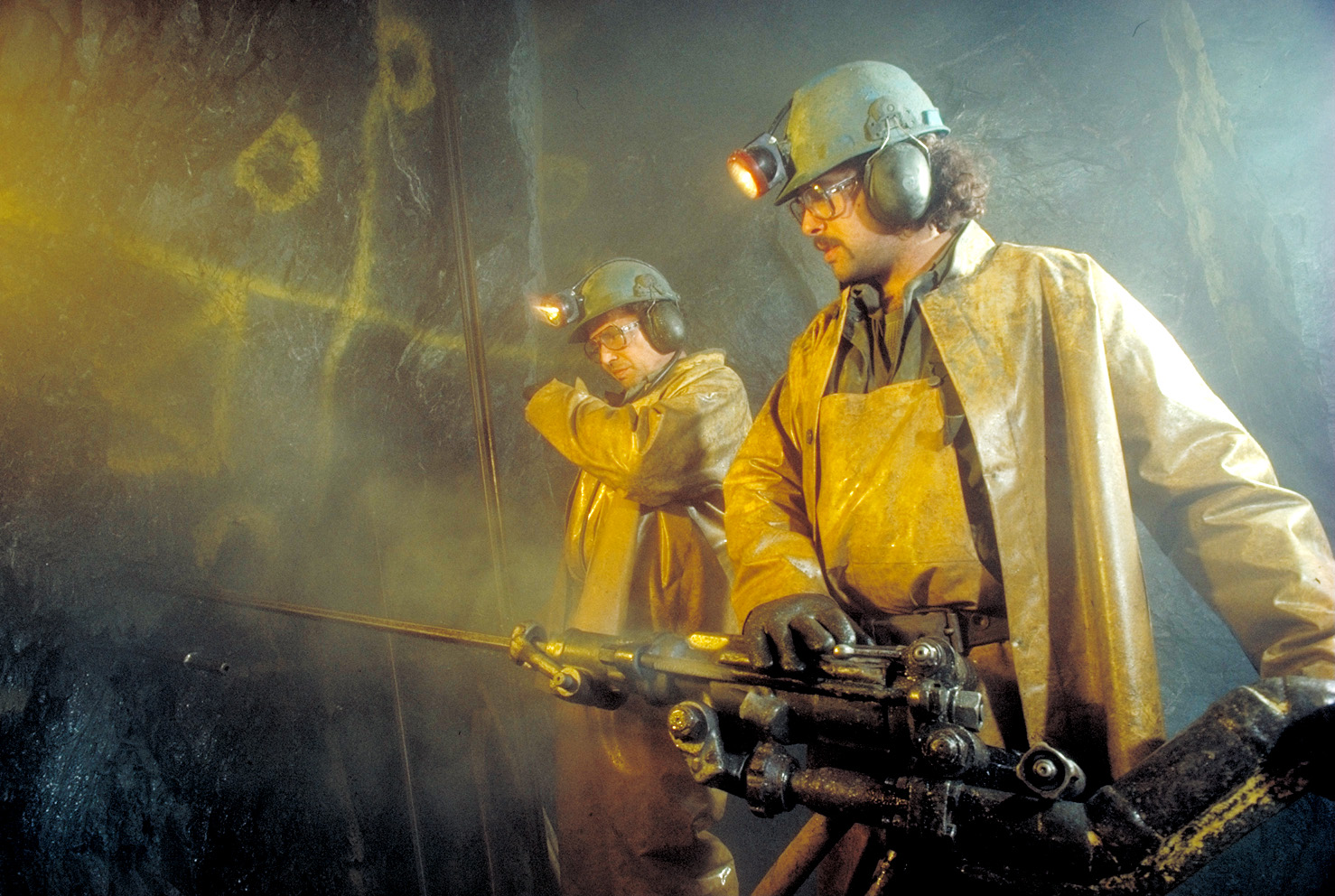Miners at American Barrick Resources's Camflo gold mine in Quebec in 1984. Credit: Barrick Gold.