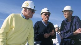 From left: Barrick Gold execs Peter Munk, Bob Smith and Brian Meikle at Barrick's Goldstrike gold mine in Nevada in 1989. Credit: Barrick Gold.