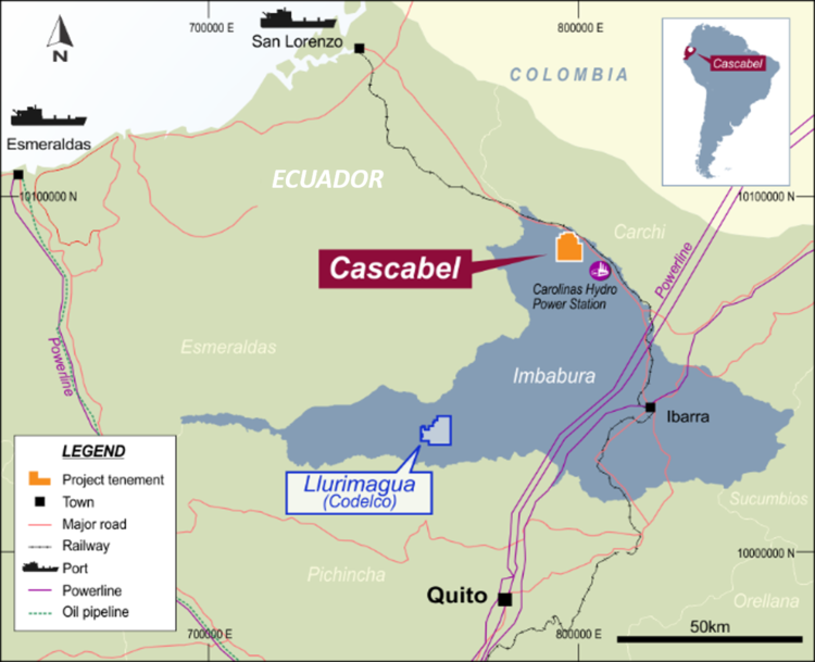 Location map of SolGold's Cascabel copper-gold project in Ecuador. Credit: SolGold.