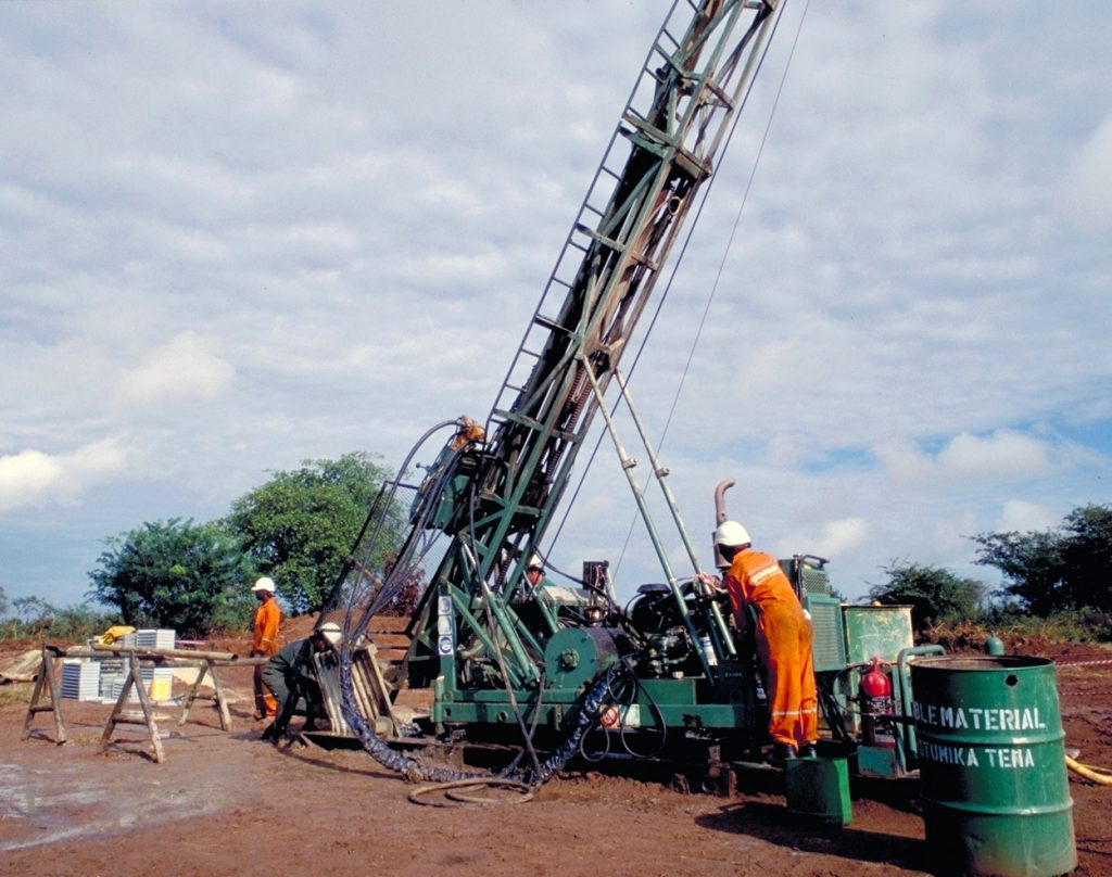 Drilling at Barrick Gold's Bulyanhulu gold project in Tanzania in 1999. Credit: Barrick Gold.