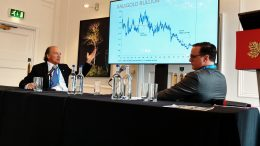 Franco-Nevada chairman Pierre Lassonde (left) and Northern Miner publisher Anthony Vaccaro at the Northern Miner's Canadian Mining Symposium at Canada House in London, UK, in late April 2018. Photo by John Cumming.
