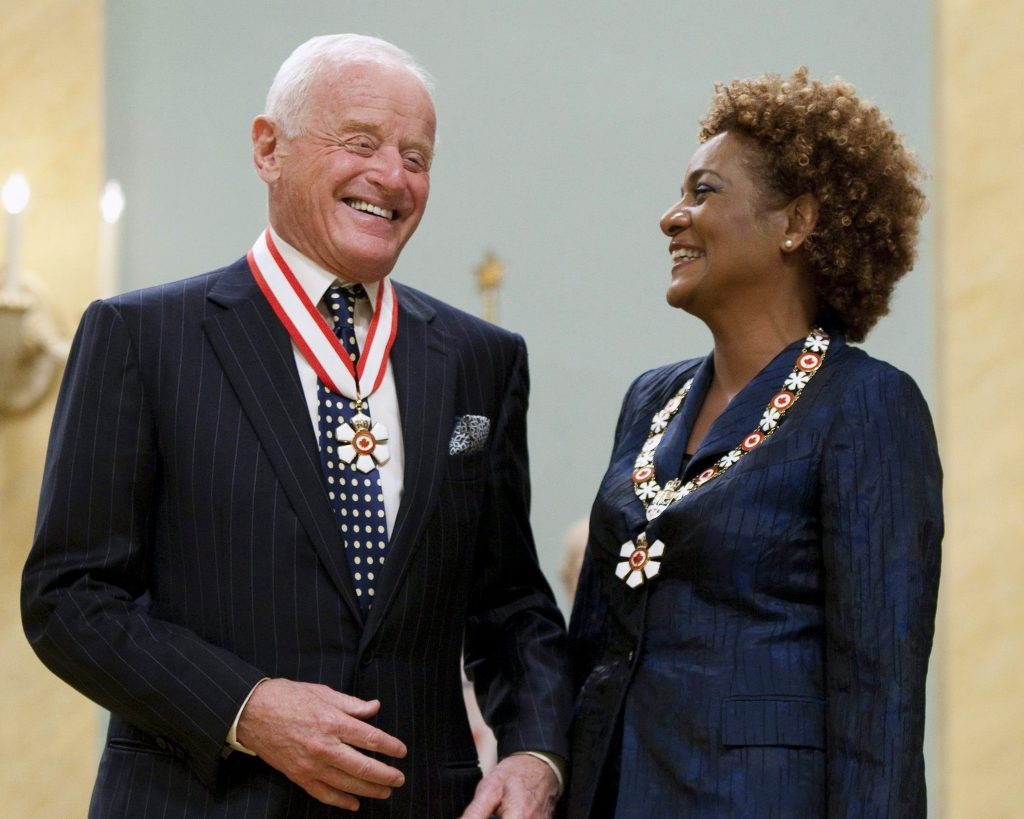 Peter Munk with Canada's Governor General Michaelle Jean after making him a Companion of the Order of Canada during a ceremony at Rideau Hall in Ottawa in June 2010. Credit: CP.