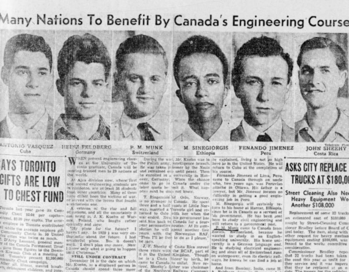 Newspaper clipping showing Peter Munk as an engineering student at the University of Toronto circa 1950. Credit: The Biography of Peter Munk.