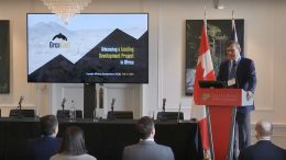 Orca Gold chief executive officer and director Richard P. Clark presents at the Canadian Mining Symposium in London on April 25, 2018.