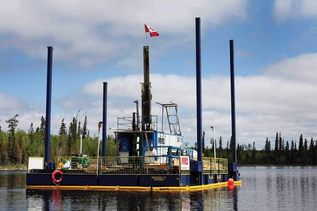 A drilling barge at First Mining Gold's Springpole gold property, 110 km northeast of Red Lake, Ontario. Credit: First Mining Gold.