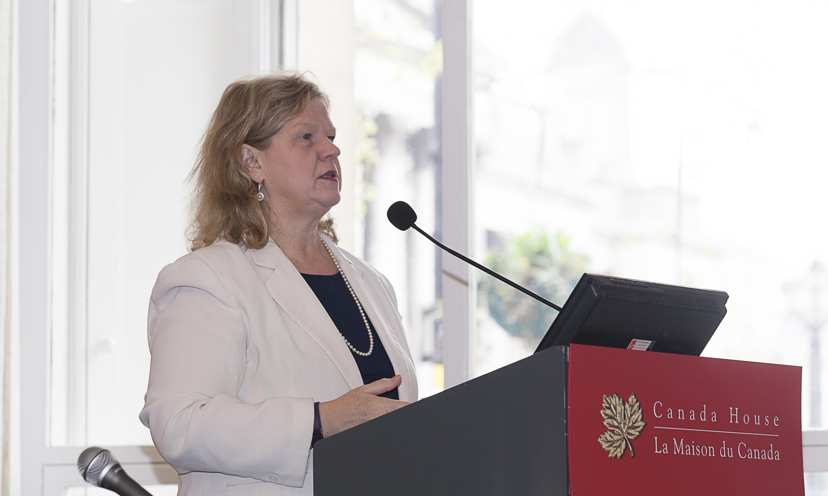 Janice, Charette, High Commissioner of Canada to the U.K., speaking at The Northern Miner's Canadian Mining Symposium in London in April 2018. Photo by Martina Lang.