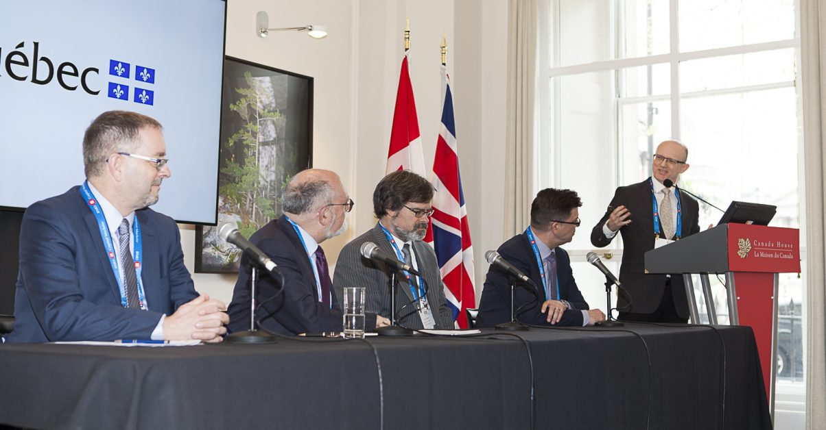 The Quebec Plan Nord panel session at The Northern Miner's Canadian Mining Symposium at Canada House in London, U.K., in April 2018, from left: Guy Bourassa, president and CEO of Nemaska Lithium; Robert Sauvé, CEO of the Société du Plan Nord; Darin Wagner, president and CEO of Balmoral Resources; Pascal Hamelin, president and COO of Metanor Resoruces; and moderator John Cumming, editor-in-chief of The Northern Miner. Photo by Martina Lang.