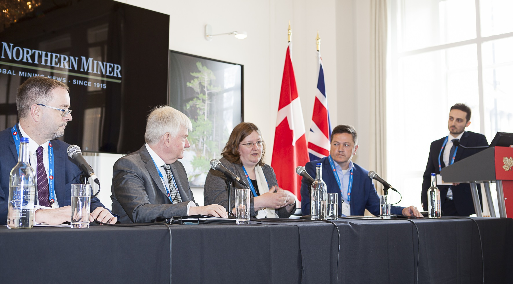 At the Northern Miner's Canadian Mining Symposium in London, U.K., from left: Nemaska Lithium president and CEO Guy Bourassa; Fortune Minerals president and CEO Robin Goad; CRU Consulting's head of technology metals and energy Rebecca Gordon; Cobalt Blockchain president and COO Lance Hooper; and Northern Miner staff writer and moderator Richard Quarisa. Photo by Martina Lang.