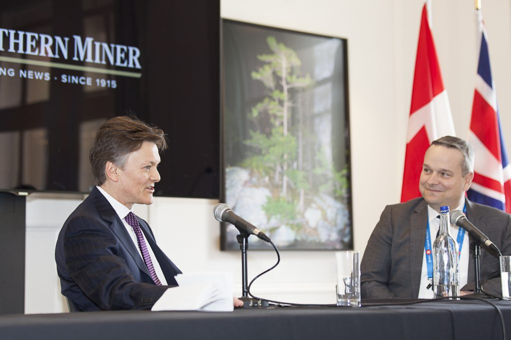 Barrick Gold president Kelvin Dushnisky (left) and Canaccord Genuity mining analyst Carey MacRury at the Canadian Mining Symposium at Canada House in London in April 2018. Photo by Martina Lang.